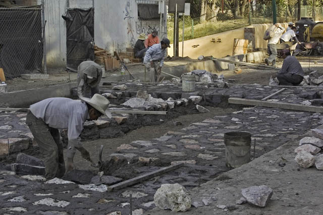 Time-less-images Street Construction Cholula Mexico